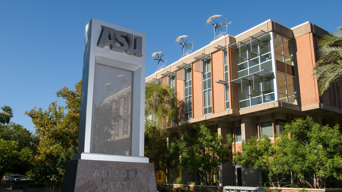ASU sign on the Tempe campus