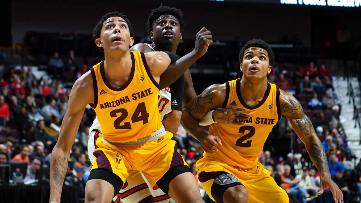 ASU basketball players during a game