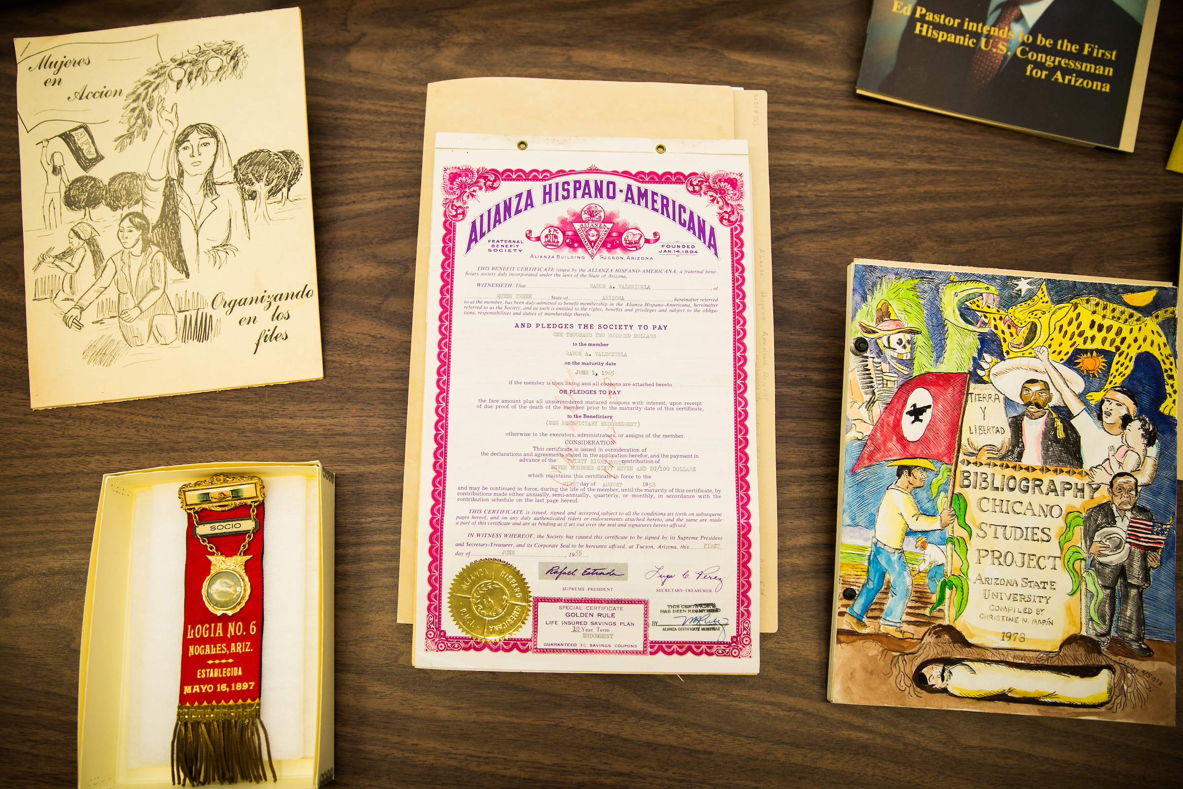 items from archive on table