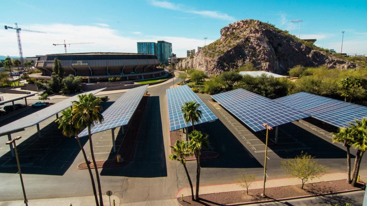 solar panels in parking lot