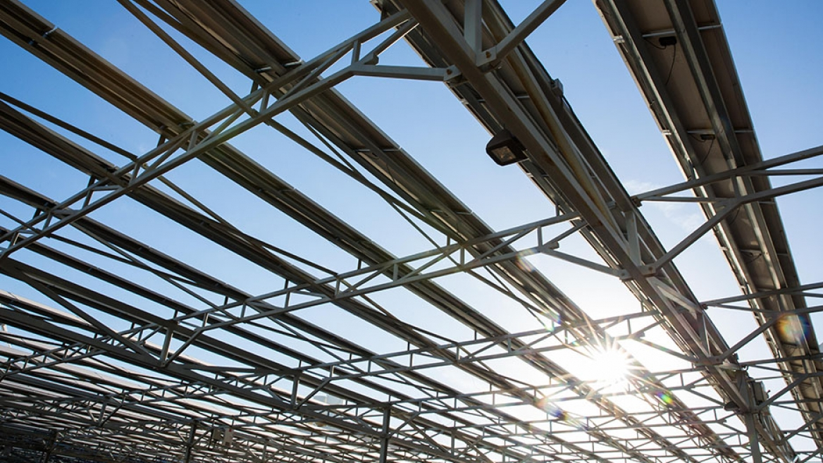 On the ASU Tempe campus, solar energy panels generate renewable energy and provide shade.