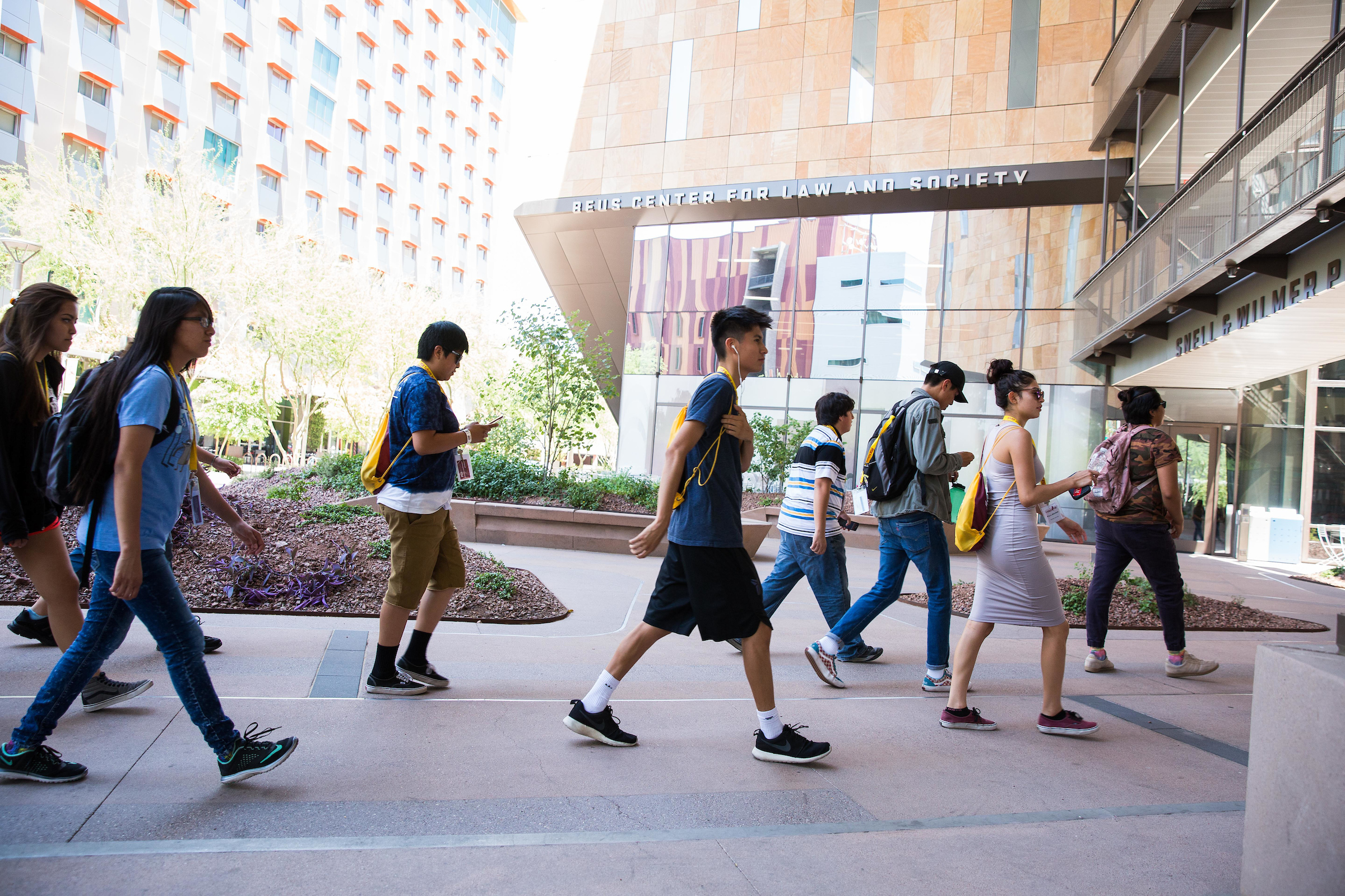 Native high school students in ASU's Inspire camp head into the Beus Center for Law and Society at Downtown Phoenix campus