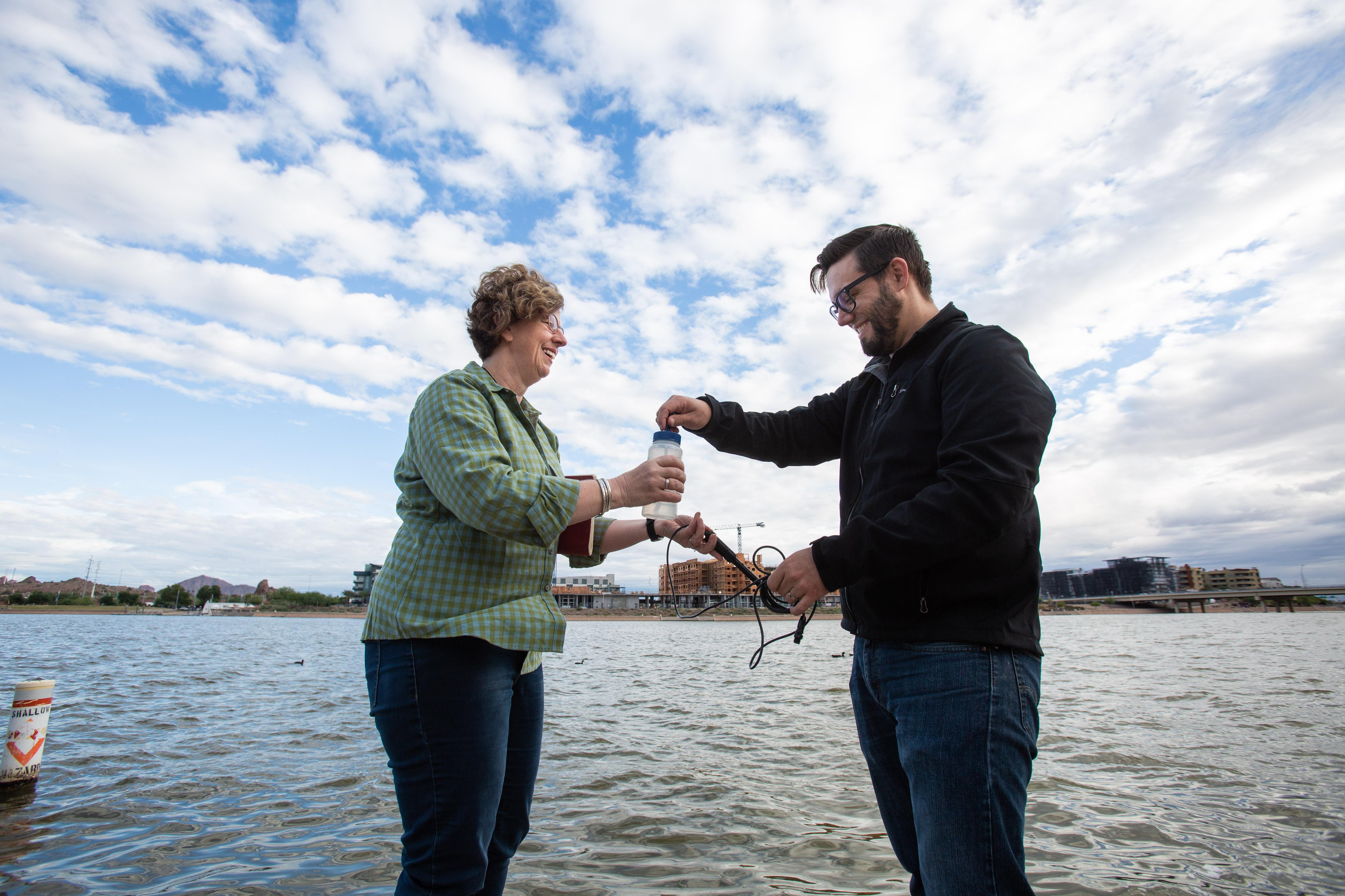 Hilairy measures Tempe Town Lake