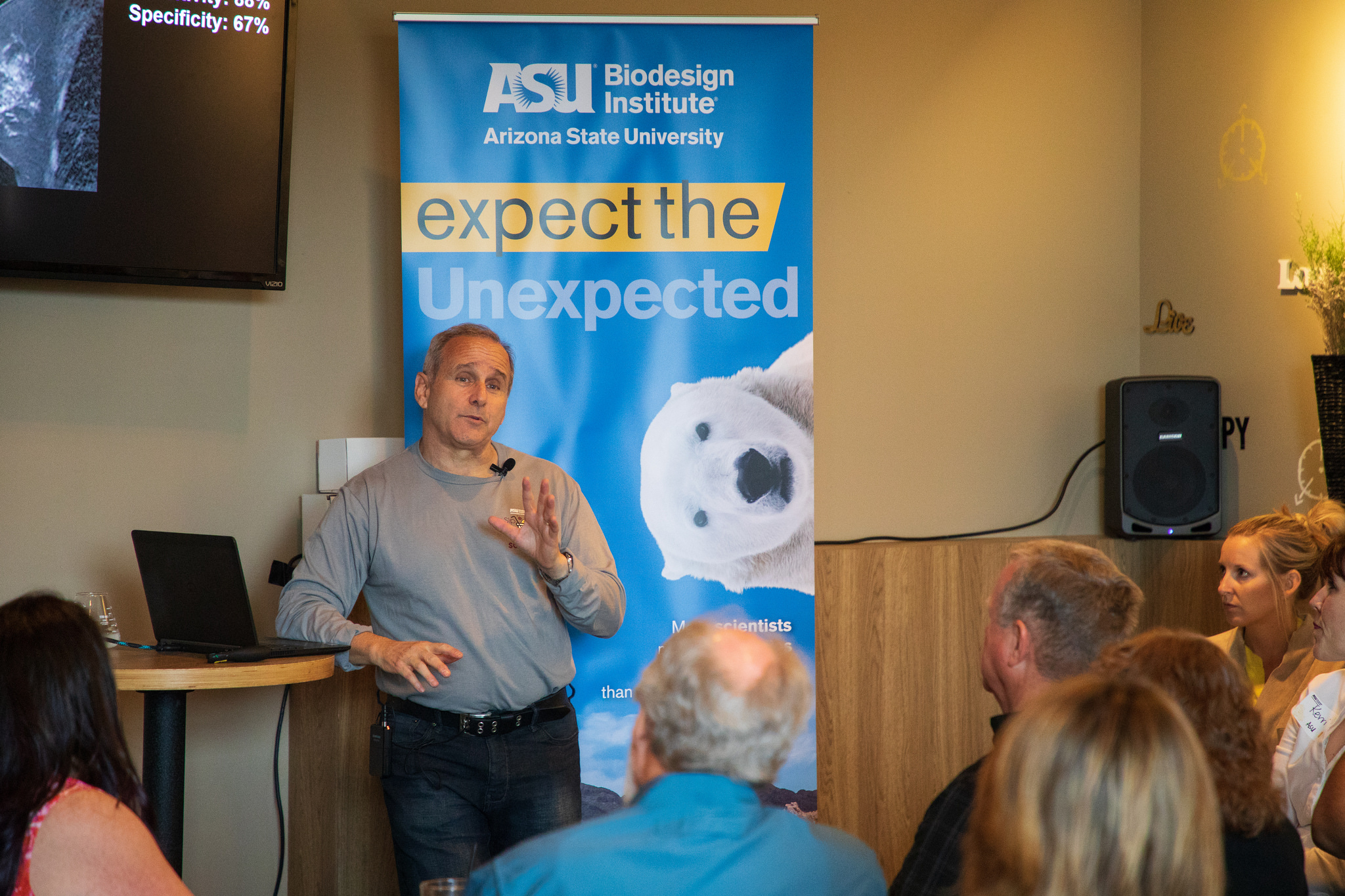 "Biodesign Institute executive director Josh LaBaer spoke at ""A Sip of Science"" Sunday in Chandler."