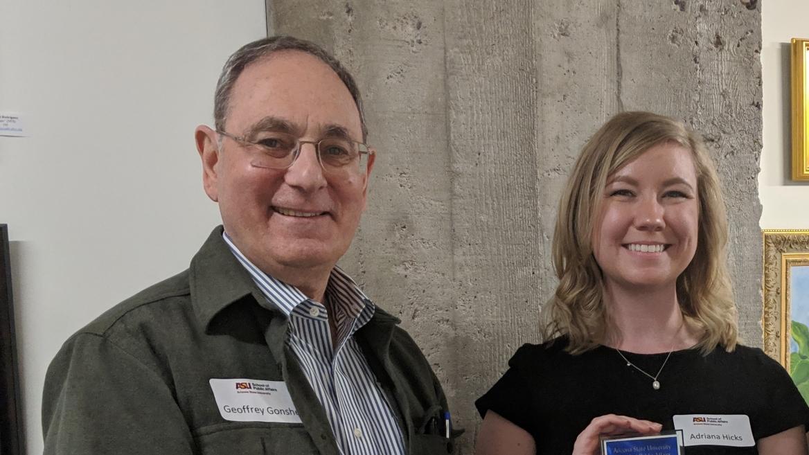 Intern Adrianna Hicks and Professor Geoffrey Gonsher, School of Public Affairs, Arizona State University
