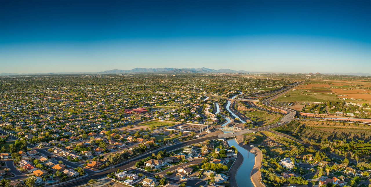 Aerial shot of Phoenix showing canals
