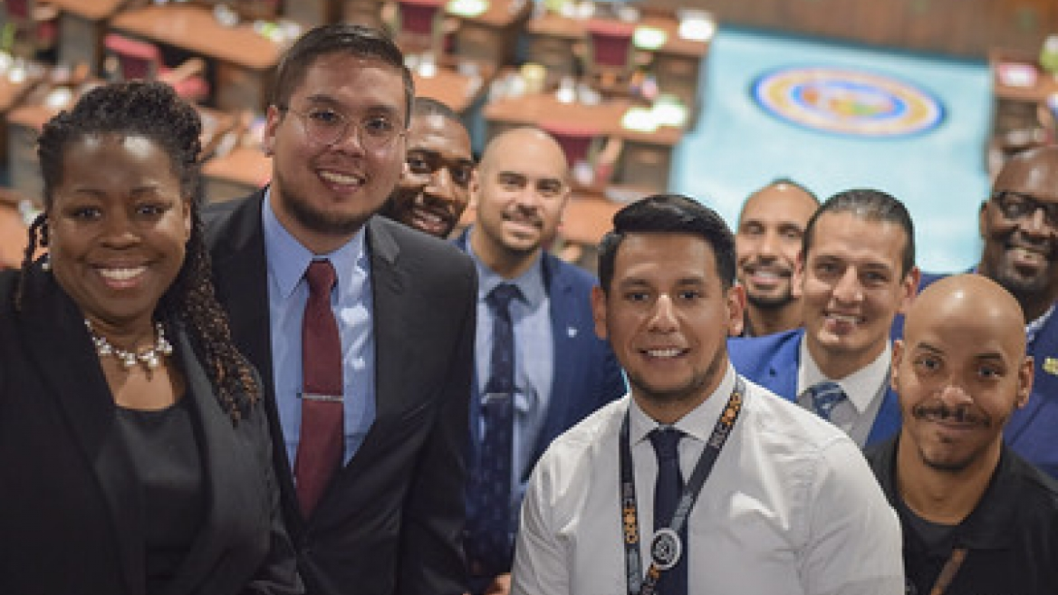 Males in Higher Education state leaders gather at the Arizona Capitol