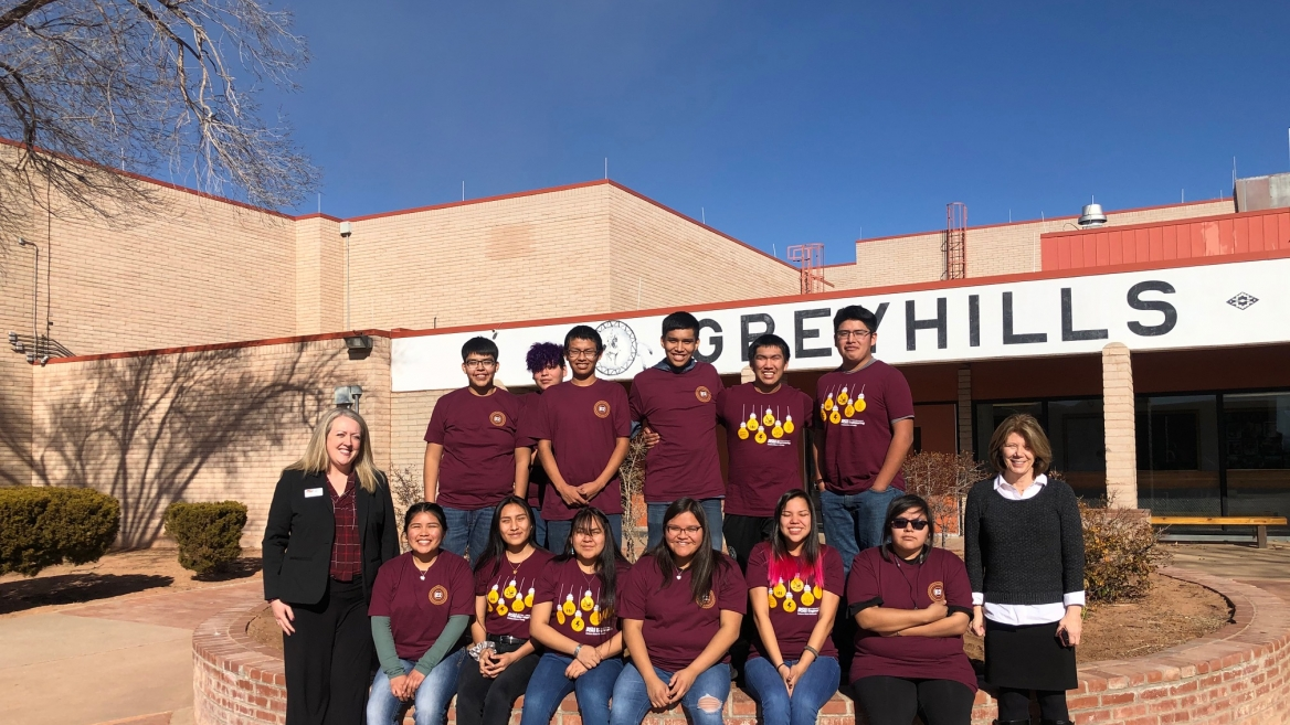 Greyhills Academy High School students in the first ASU Prep Digital partnership cohort at their school in Tuba City