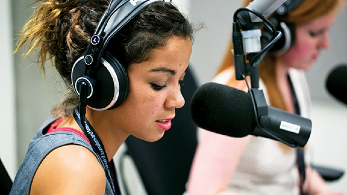 Middle and high school students learn broadcasting basics at the Cronkite School.