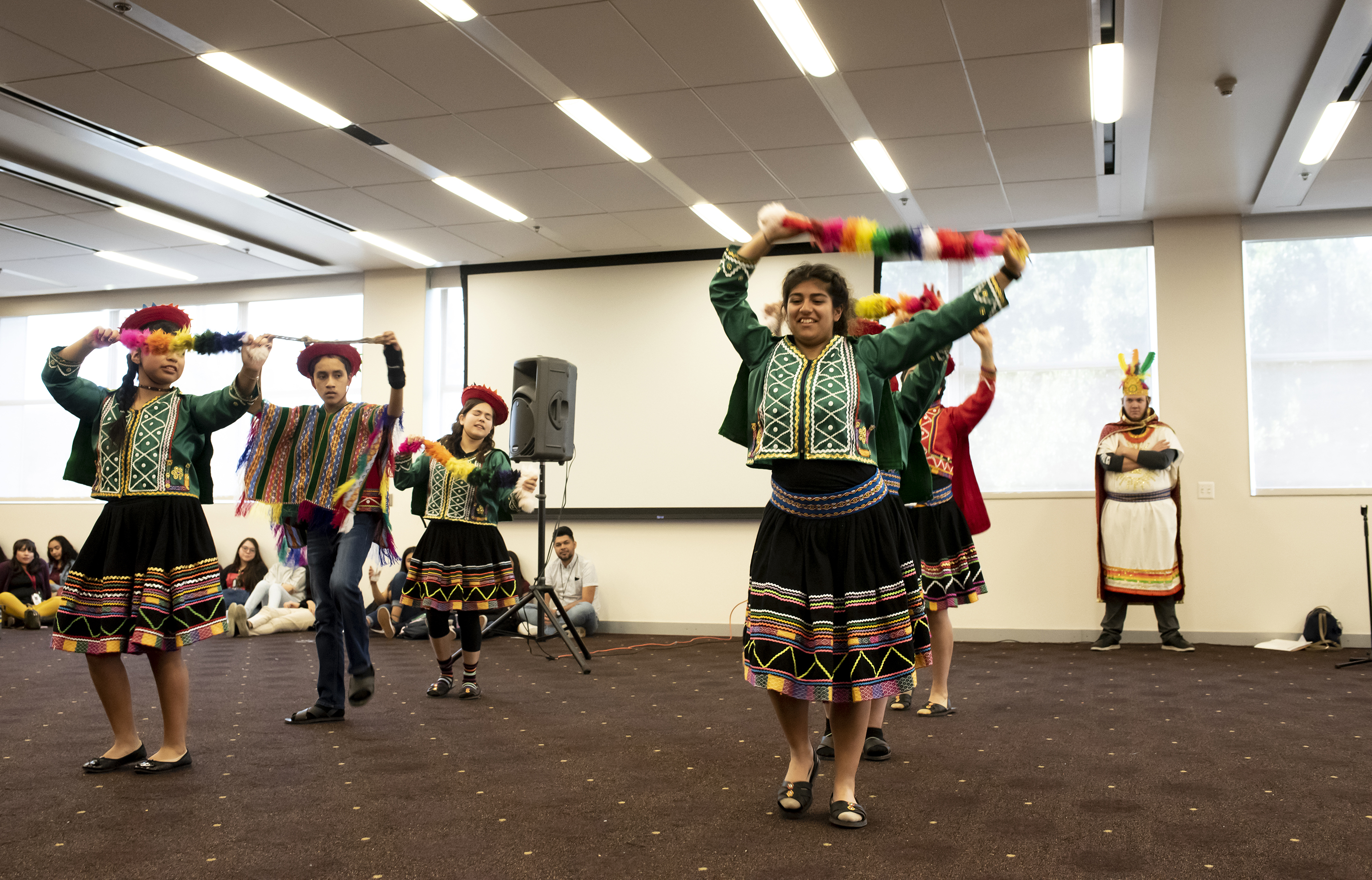 Students from the Learning Foundation and Performing Arts school in Gilbert perform a traditional Peruvian folk dance called valicha at the Memorial Union on the Tempe campus during the School of International Letters and Cultures' annual Language Fair.