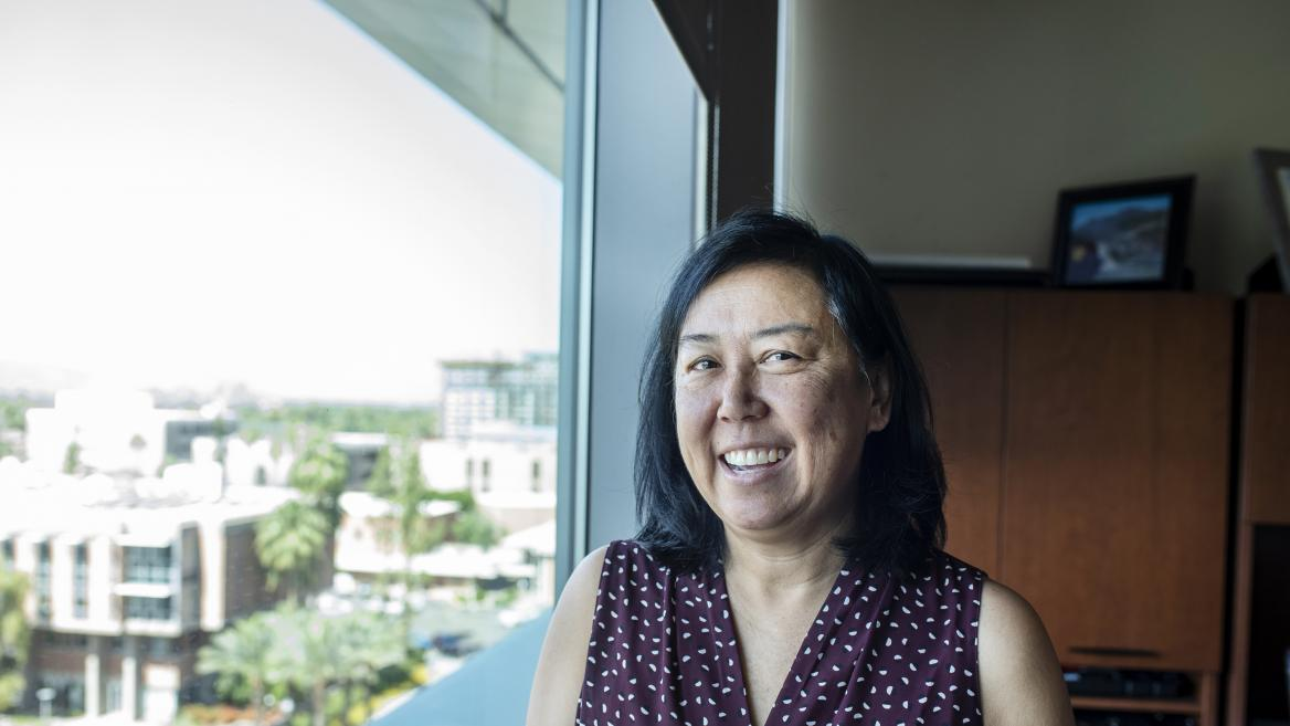 Arlene Chin in her office at the ASU Foundation.
