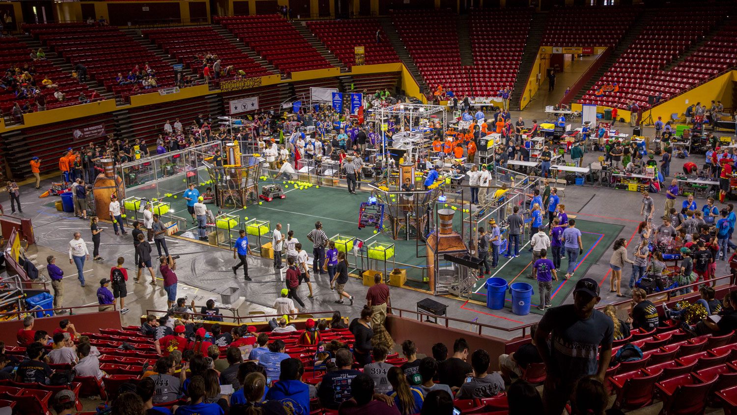 High school students compete in the FIRST Robotics Competition Arizona State Championship at Wells Fargo Arena in October 2017.