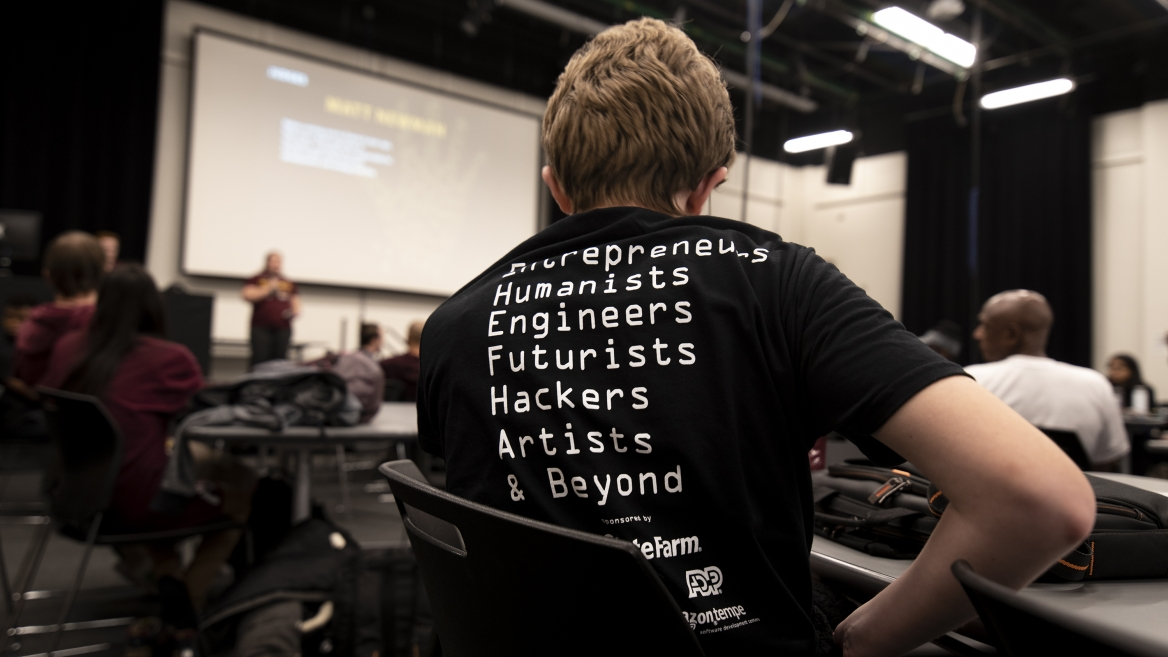A T-shirt from the sixth annual Hacks for Humanity at ASU