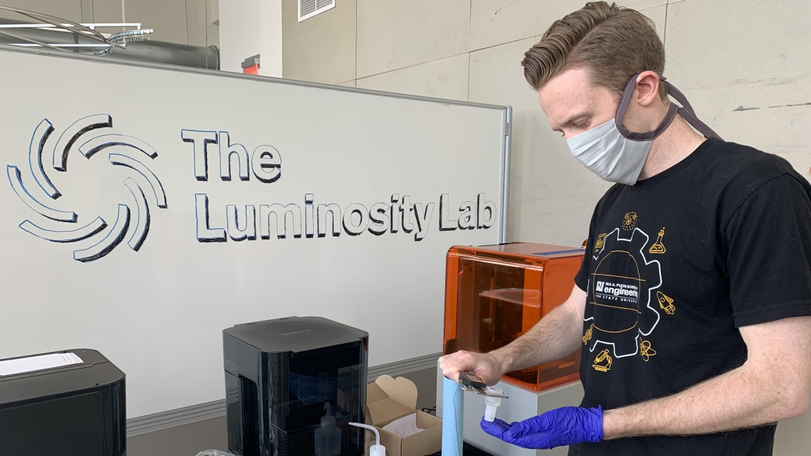 Clinton Ewell works in the Luminosity Lab