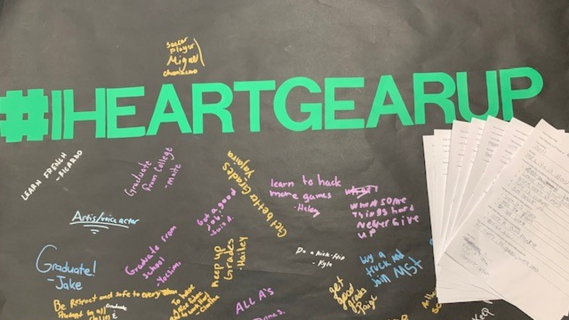 GEAR UP student poster that says I Heart Gear Up