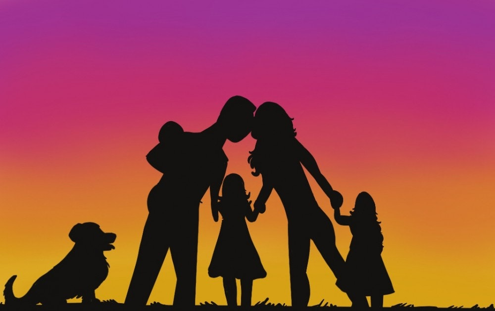 Drawing of a family holding hands at a sunset