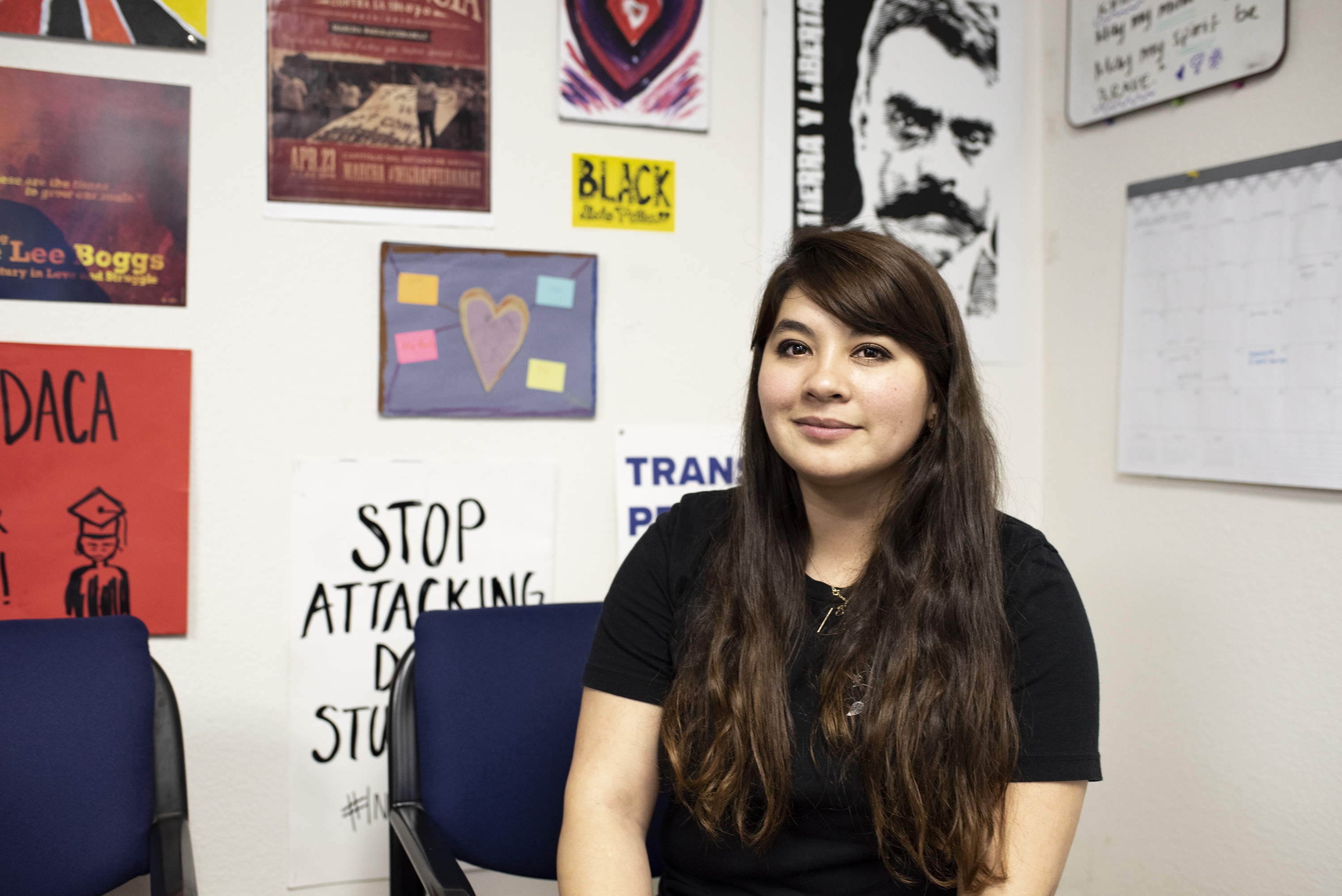 ASU alumna Reyna Montoya pictured in the Mesa office of her advocacy group, Aliento.