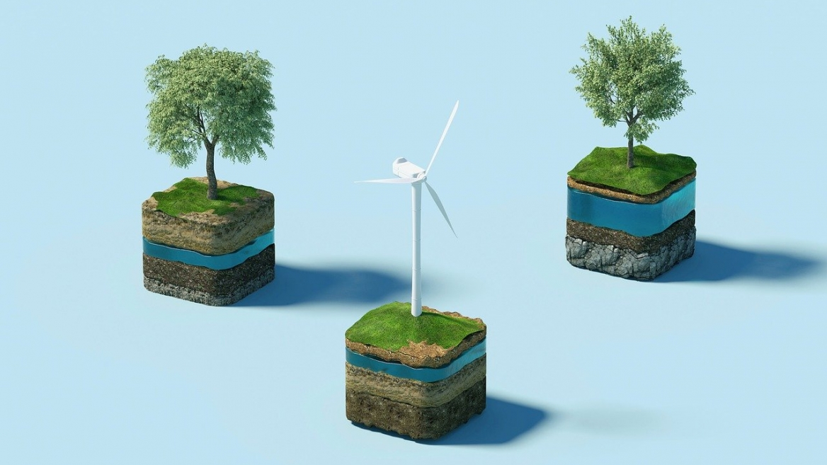 Sustainabilty art of trees and windmills