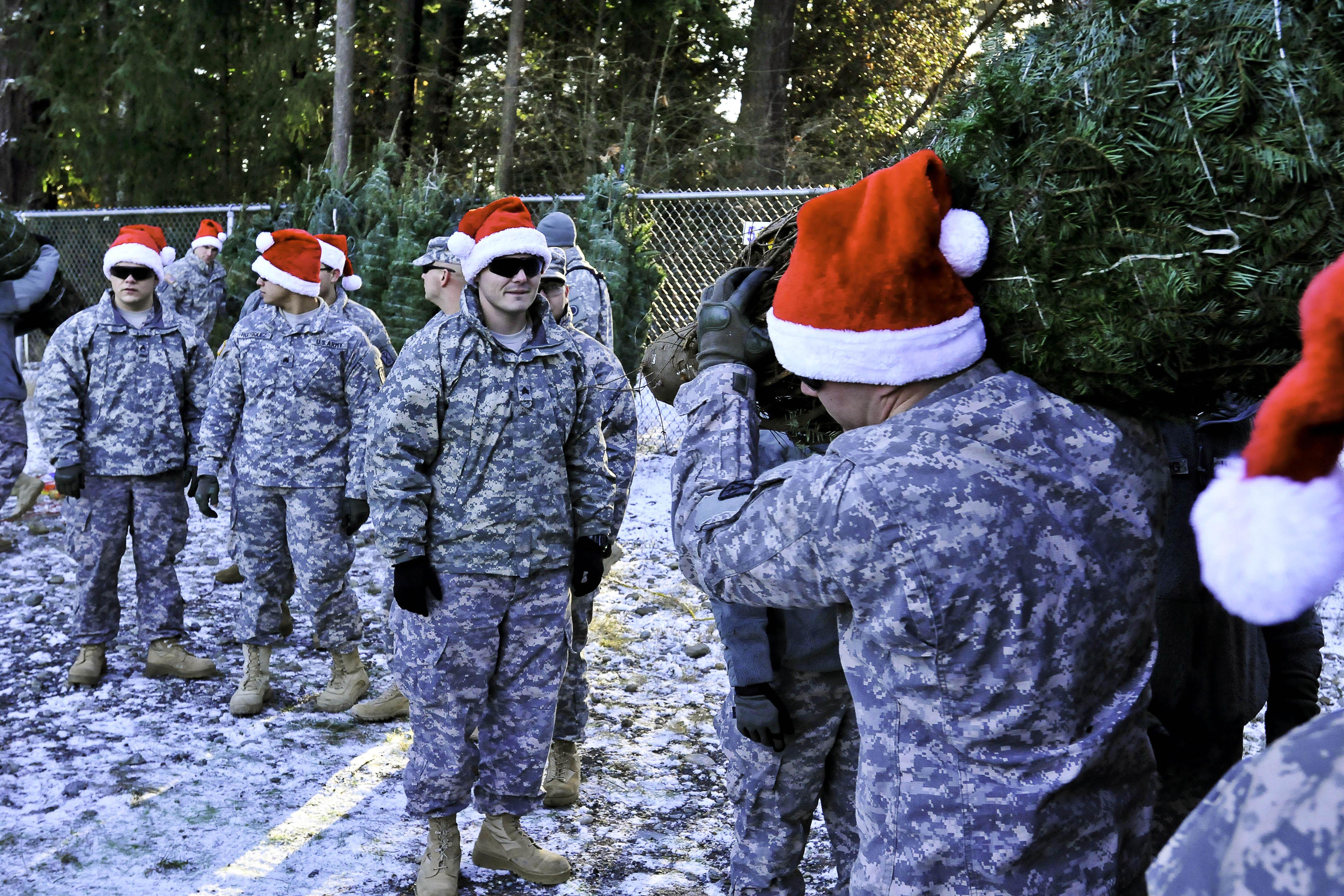 Military in Santa hats