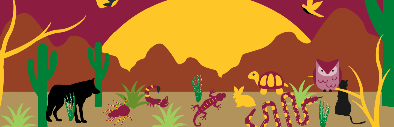 Desert ecosystem with maroon sky, animals and yellow sun