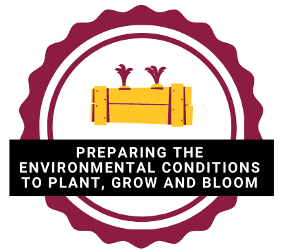 preparing the environmental conditions to plant, grow and bloom logo